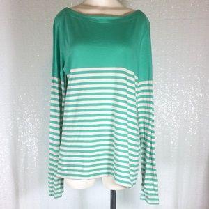 LOFT Blouse Long Sleeve Mint Green Striped sz XL